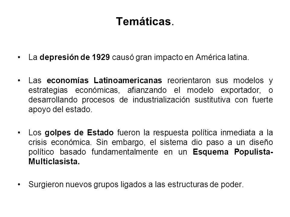 Temáticas. La depresión de 1929 causó gran impacto en América latina. Las economías Latinoamericanas reorientaron sus modelos y estrategias económicas