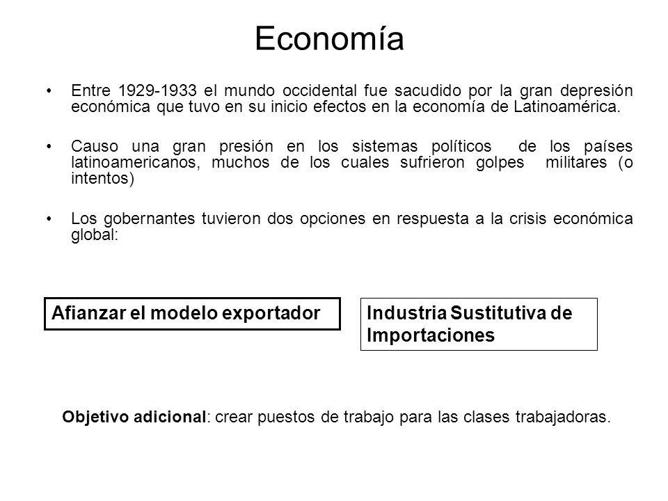 Economía Entre 1929-1933 el mundo occidental fue sacudido por la gran depresión económica que tuvo en su inicio efectos en la economía de Latinoaméric