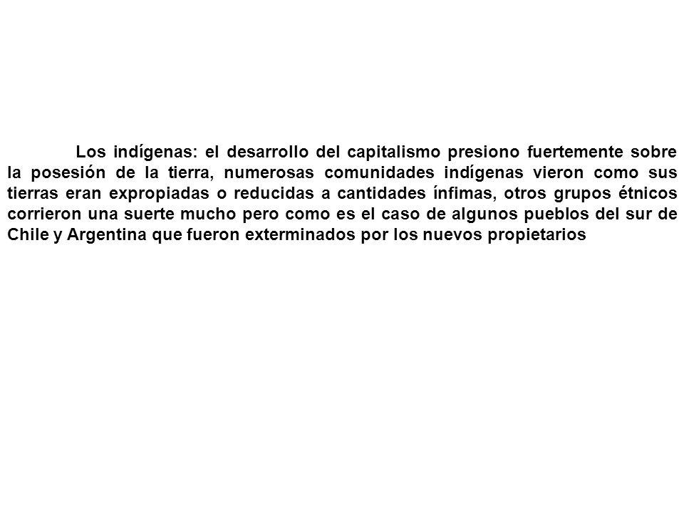 Los indígenas: el desarrollo del capitalismo presiono fuertemente sobre la posesión de la tierra, numerosas comunidades indígenas vieron como sus tier
