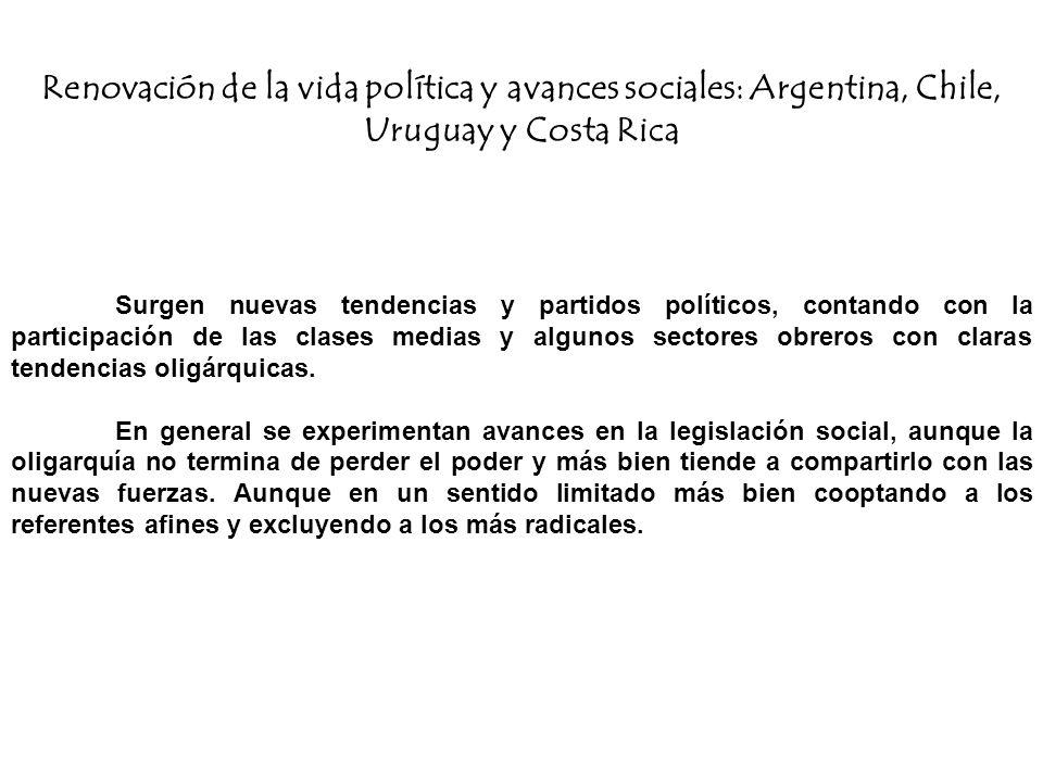 Renovación de la vida política y avances sociales: Argentina, Chile, Uruguay y Costa Rica Surgen nuevas tendencias y partidos políticos, contando con