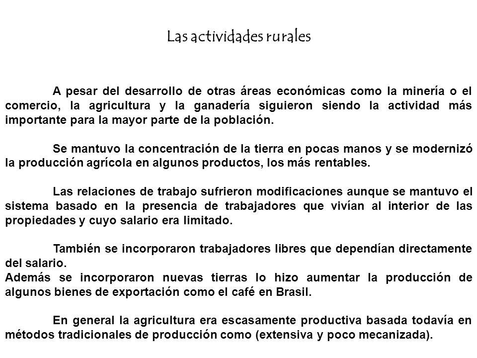 Las actividades rurales A pesar del desarrollo de otras áreas económicas como la minería o el comercio, la agricultura y la ganadería siguieron siendo