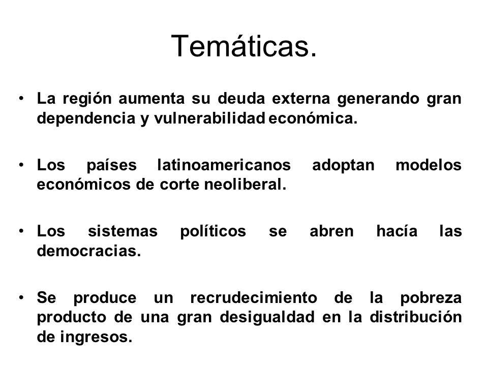 Temáticas. La región aumenta su deuda externa generando gran dependencia y vulnerabilidad económica. Los países latinoamericanos adoptan modelos econó