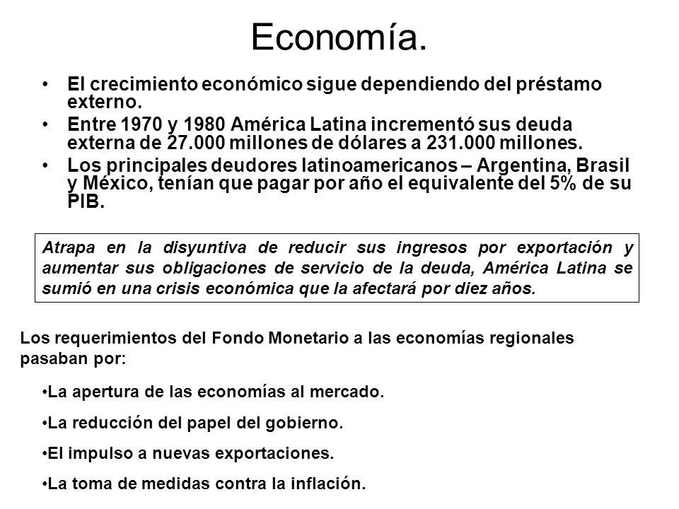 Economía. El crecimiento económico sigue dependiendo del préstamo externo. Entre 1970 y 1980 América Latina incrementó sus deuda externa de 27.000 mil