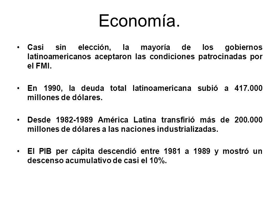Economía. Casi sin elección, la mayoría de los gobiernos latinoamericanos aceptaron las condiciones patrocinadas por el FMI. En 1990, la deuda total l