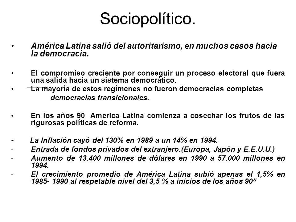 Sociopolítico. América Latina salió del autoritarismo, en muchos casos hacia la democracia. El compromiso creciente por conseguir un proceso electoral