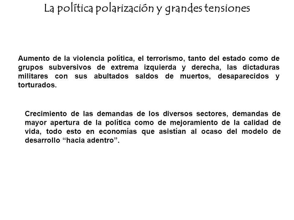 La política polarización y grandes tensiones Aumento de la violencia política, el terrorismo, tanto del estado como de grupos subversivos de extrema i