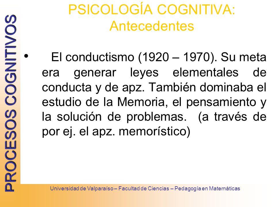 PROCESOS COGNITIVOS Universidad de Valparaíso – Facultad de Ciencias – Pedagogía en Matemáticas PSICOLOGÍA COGNITIVA: Antecedentes El conductismo (192