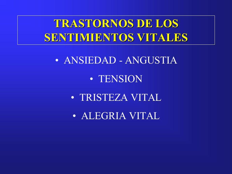 TRASTORNOS DE LOS SENTIMIENTOS VITALES ANSIEDAD - ANGUSTIA TENSION TRISTEZA VITAL ALEGRIA VITAL