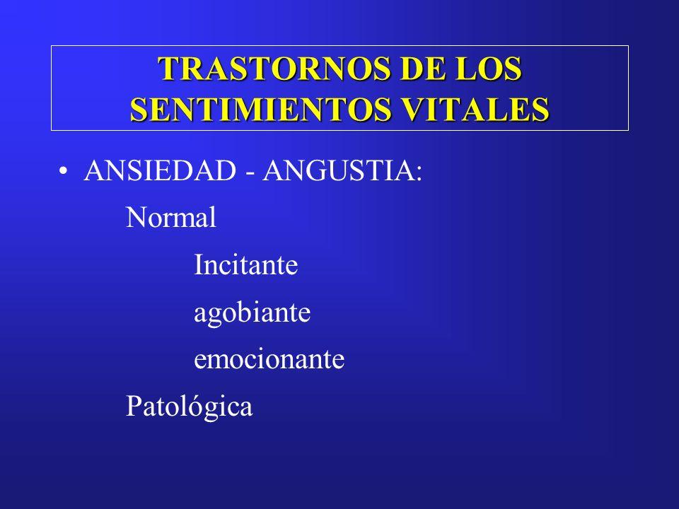 TRASTORNOS DE LOS SENTIMIENTOS VITALES ANSIEDAD - ANGUSTIA: Normal Incitante agobiante emocionante Patológica