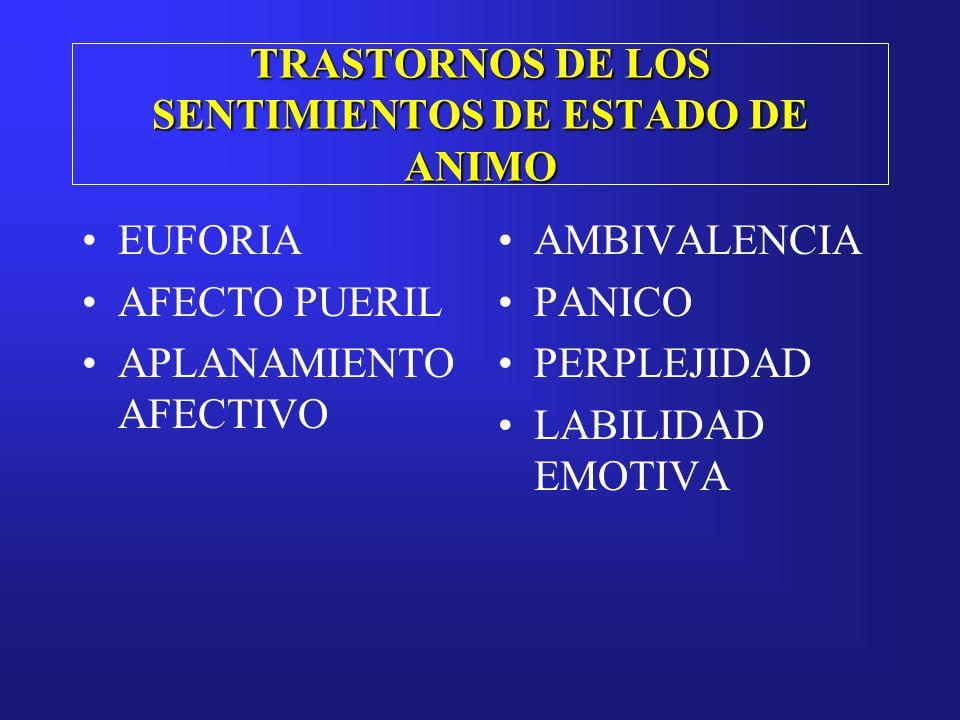 TRASTORNOS DE LOS SENTIMIENTOS DE ESTADO DE ANIMO EUFORIA AFECTO PUERIL APLANAMIENTO AFECTIVO AMBIVALENCIA PANICO PERPLEJIDAD LABILIDAD EMOTIVA
