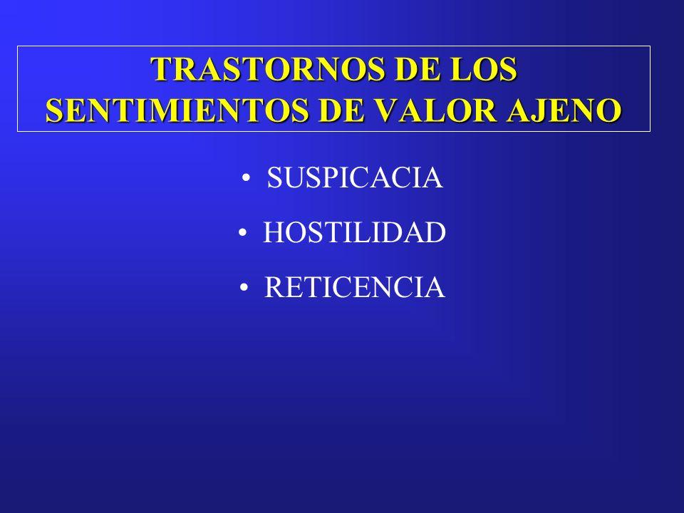TRASTORNOS DE LOS SENTIMIENTOS DE VALOR AJENO SUSPICACIA HOSTILIDAD RETICENCIA