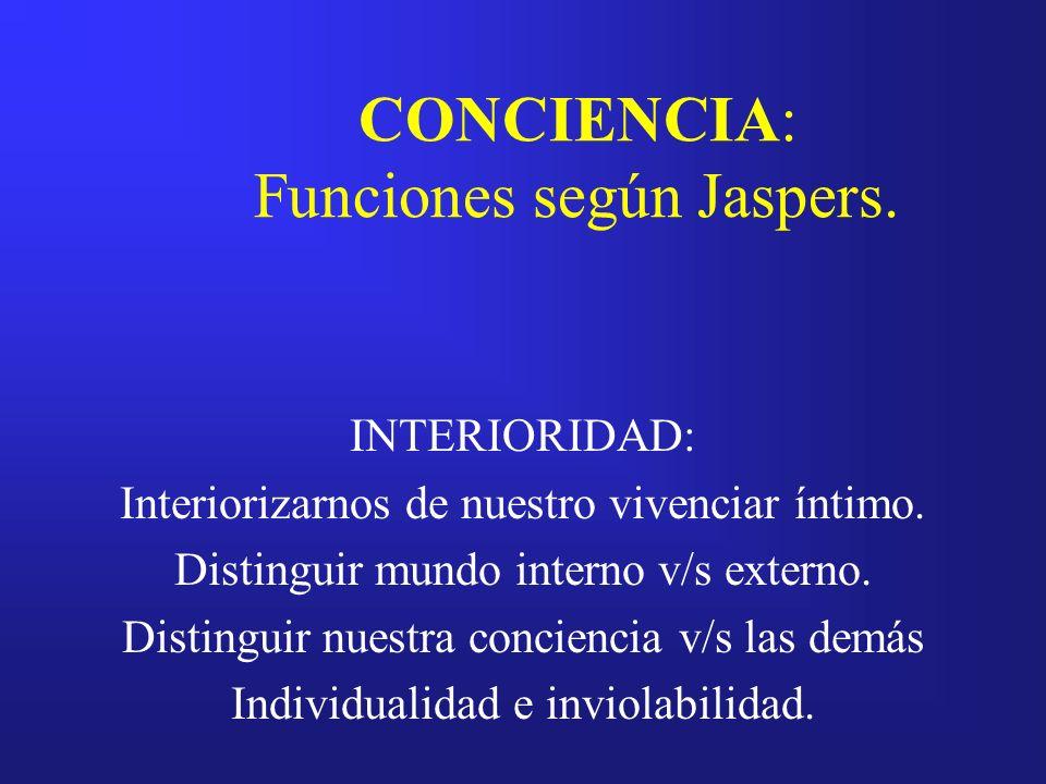 CONCIENCIA: Funciones según Jaspers. INTERIORIDAD: Interiorizarnos de nuestro vivenciar íntimo. Distinguir mundo interno v/s externo. Distinguir nuest