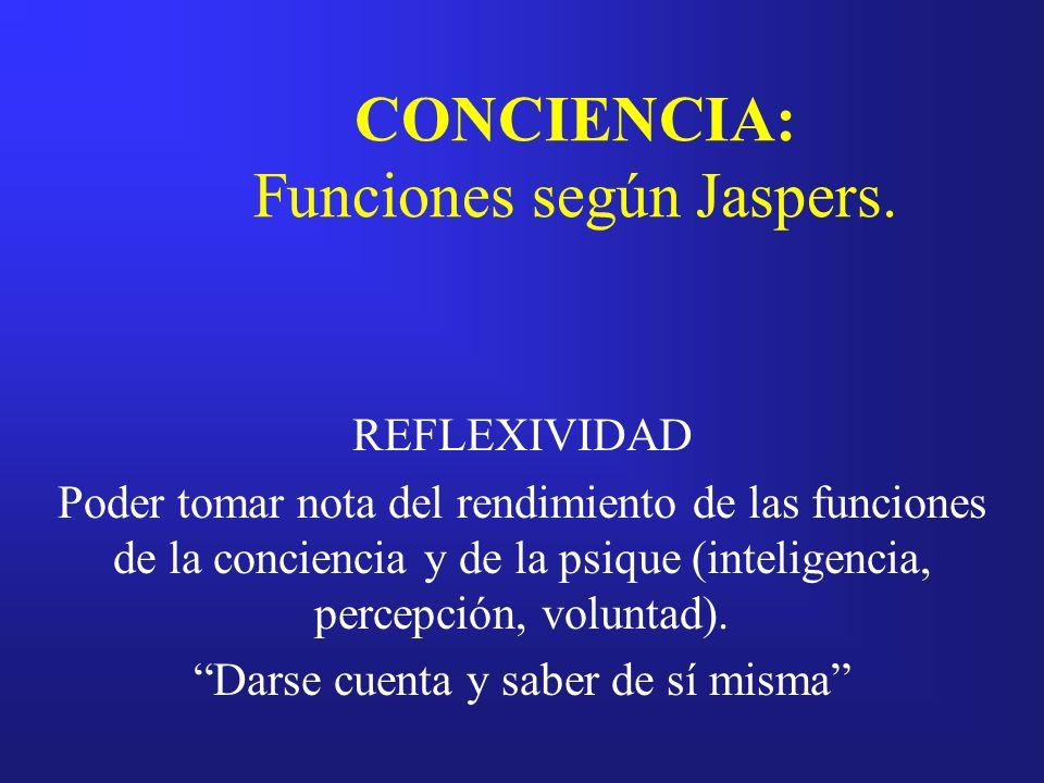 CONCIENCIA: Funciones según Jaspers. REFLEXIVIDAD Poder tomar nota del rendimiento de las funciones de la conciencia y de la psique (inteligencia, per