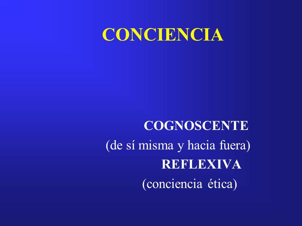 CONCIENCIA COGNOSCENTE (de sí misma y hacia fuera) REFLEXIVA (conciencia ética)