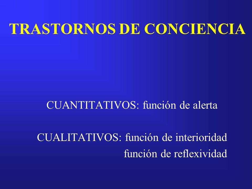 TRASTORNOS DE CONCIENCIA CUANTITATIVOS: función de alerta CUALITATIVOS: función de interioridad función de reflexividad