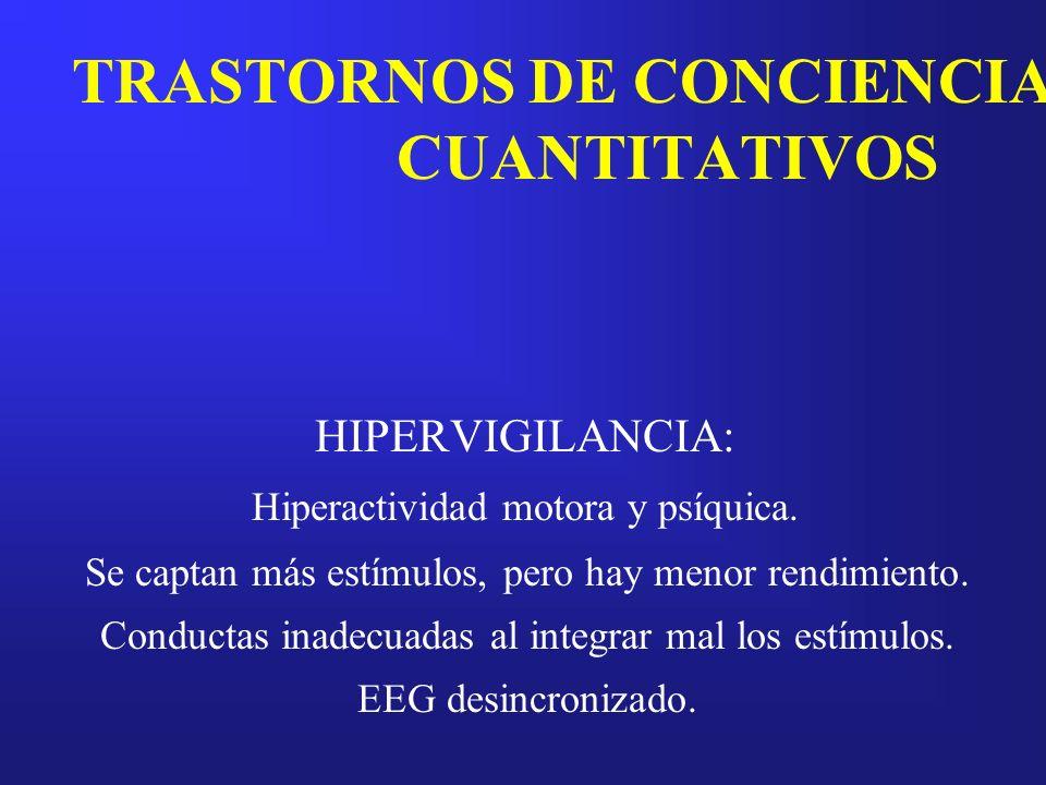 TRASTORNOS DE CONCIENCIA CUANTITATIVOS HIPERVIGILANCIA: Hiperactividad motora y psíquica. Se captan más estímulos, pero hay menor rendimiento. Conduct