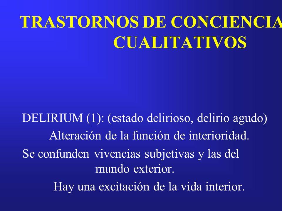 TRASTORNOS DE CONCIENCIA CUALITATIVOS DELIRIUM (1): (estado delirioso, delirio agudo) Alteración de la función de interioridad. Se confunden vivencias