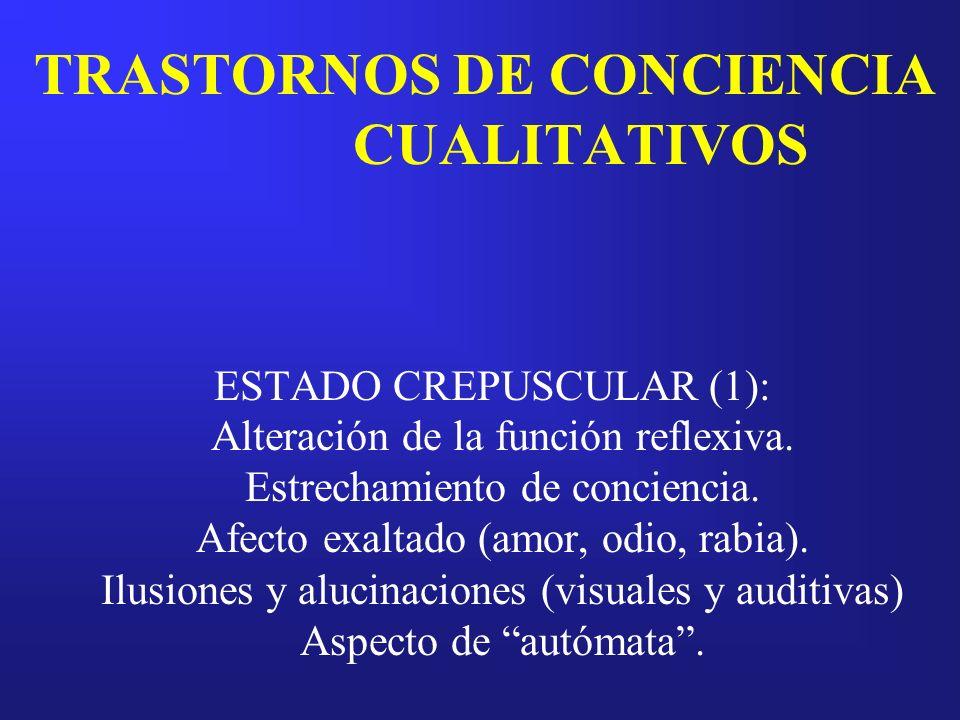 TRASTORNOS DE CONCIENCIA CUALITATIVOS ESTADO CREPUSCULAR (1): Alteración de la función reflexiva. Estrechamiento de conciencia. Afecto exaltado (amor,