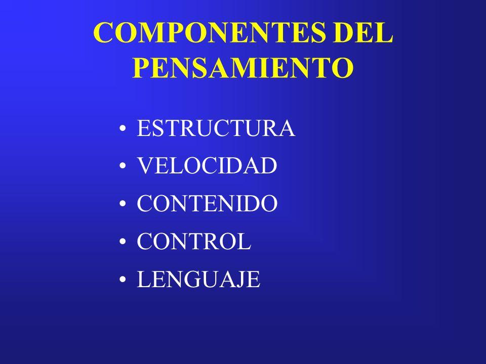 COMPONENTES DEL PENSAMIENTO ESTRUCTURA VELOCIDAD CONTENIDO CONTROL LENGUAJE