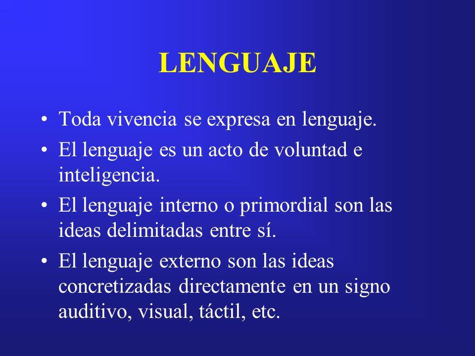 Toda vivencia se expresa en lenguaje. El lenguaje es un acto de voluntad e inteligencia. El lenguaje interno o primordial son las ideas delimitadas en