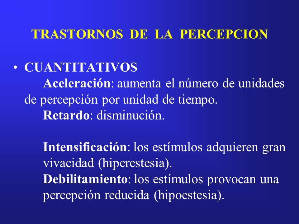TRASTORNOS DE LA PERCEPCION CUANTITATIVOS Aceleración: aumenta el número de unidades de percepción por unidad de tiempo. Retardo: disminución. Intensi