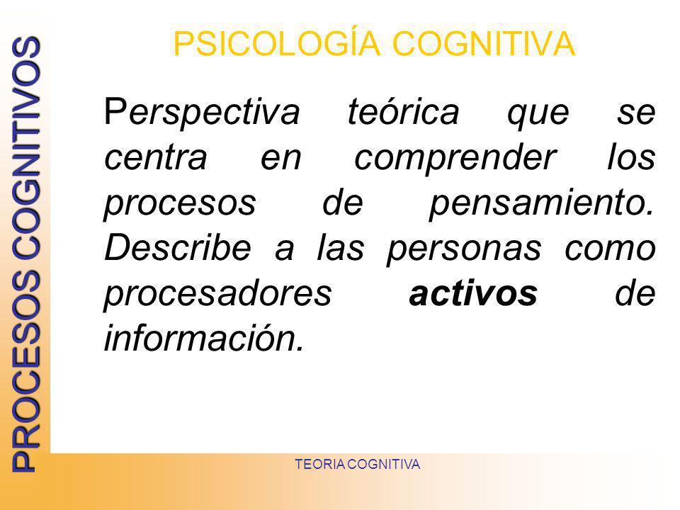 PROCESOS COGNITIVOS TEORIA COGNITIVA PSICOLOGÍA COGNITIVA Perspectiva teórica que se centra en comprender los procesos de pensamiento. Describe a las