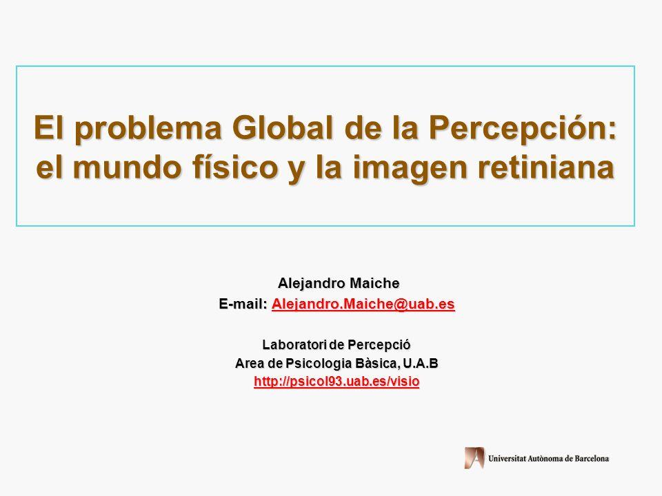 El problema Global de la Percepción: el mundo físico y la imagen retiniana Alejandro Maiche Alejandro Maiche E-mail: Alejandro.Maiche@uab.es Alejandro.Maiche@uab.es Laboratori de Percepció Area de Psicologia Bàsica, U.A.B http://psicol93.uab.es/visio