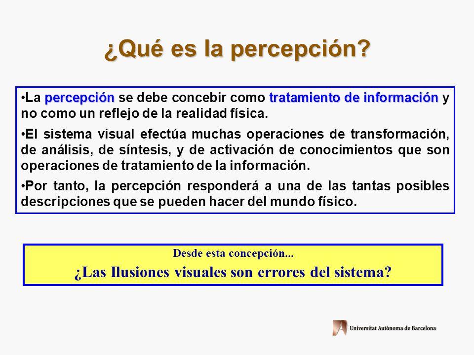 Concepción filosófica La Percepción (una realidad) Mundo Físico (la Realidad) Sistema visual