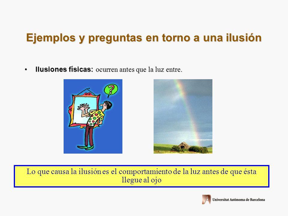 Ejemplos y preguntas en torno a una ilusión Ilusiones físicas: ocurren antes que la luz entre.Ilusiones físicas: ocurren antes que la luz entre.