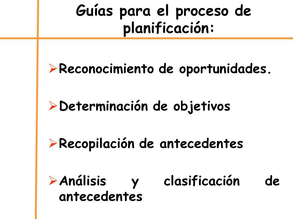 Guías para el proceso de planificación: Reconocimiento de oportunidades. Determinación de objetivos Recopilación de antecedentes Análisis y clasificac