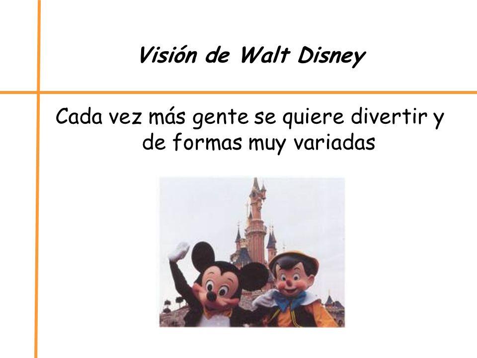 Visión de Walt Disney Cada vez más gente se quiere divertir y de formas muy variadas