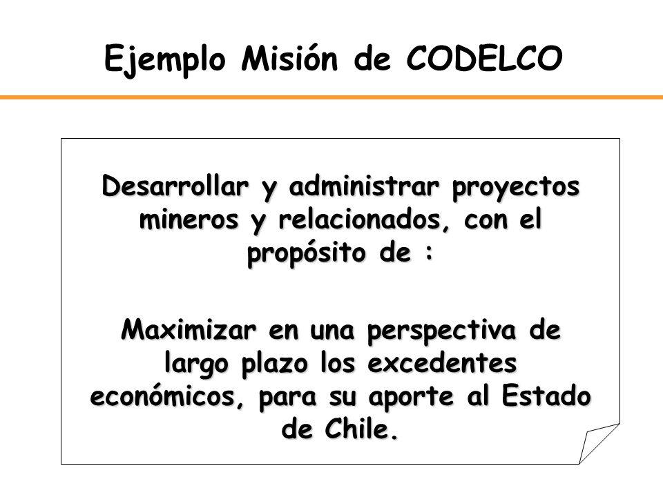 Desarrollar y administrar proyectos mineros y relacionados, con el propósito de : Maximizar en una perspectiva de largo plazo los excedentes económico