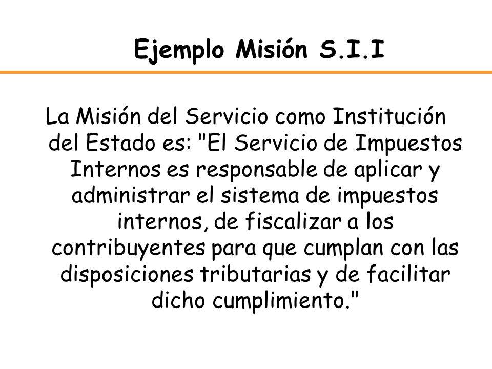 Ejemplo Misión S.I.I La Misión del Servicio como Institución del Estado es: