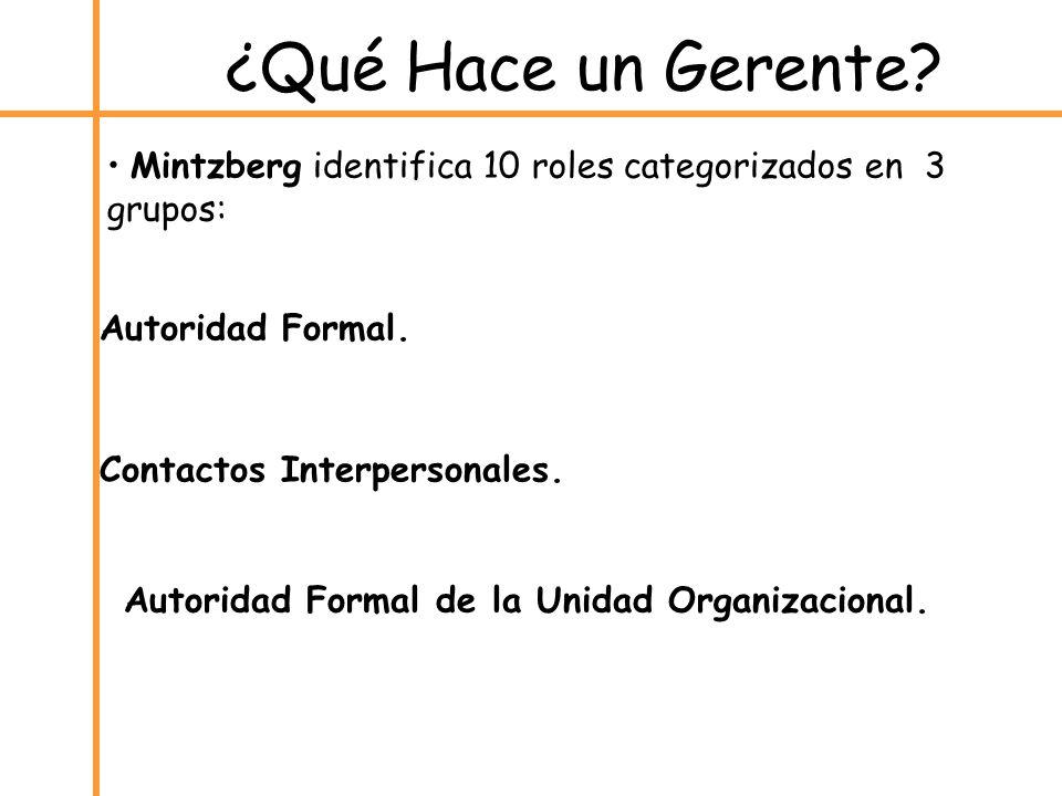 Mintzberg identifica 10 roles categorizados en 3 grupos: Autoridad Formal. Contactos Interpersonales. Autoridad Formal de la Unidad Organizacional. ¿Q