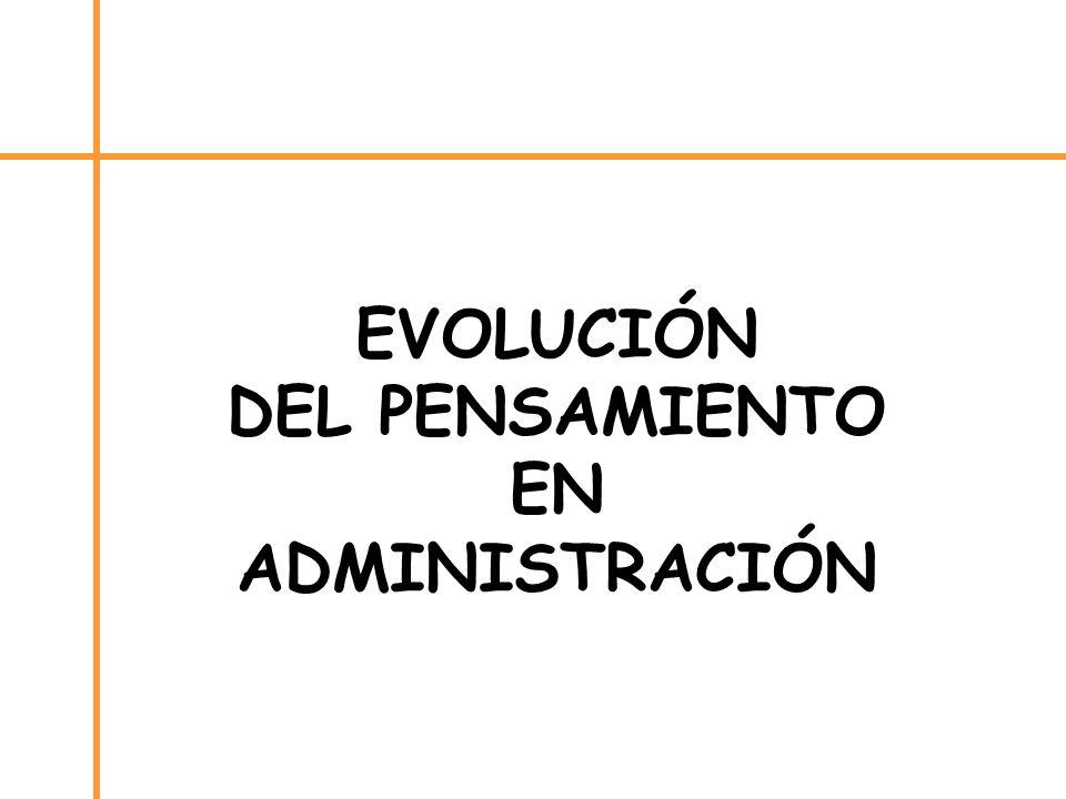 EVOLUCIÓN DEL PENSAMIENTO EN ADMINISTRACIÓN