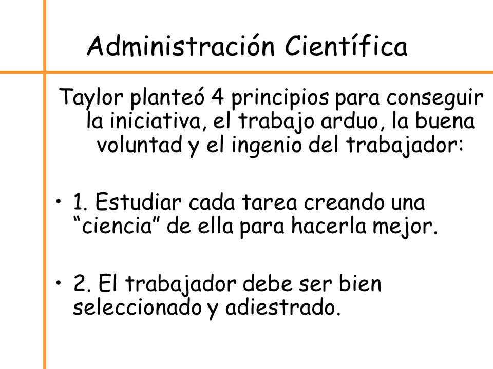 Administración Científica Taylor planteó 4 principios para conseguir la iniciativa, el trabajo arduo, la buena voluntad y el ingenio del trabajador: 1