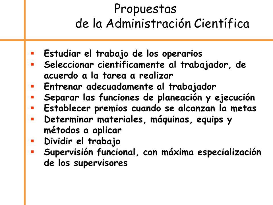 Propuestas de la Administración Científica Estudiar el trabajo de los operarios Seleccionar cientificamente al trabajador, de acuerdo a la tarea a rea