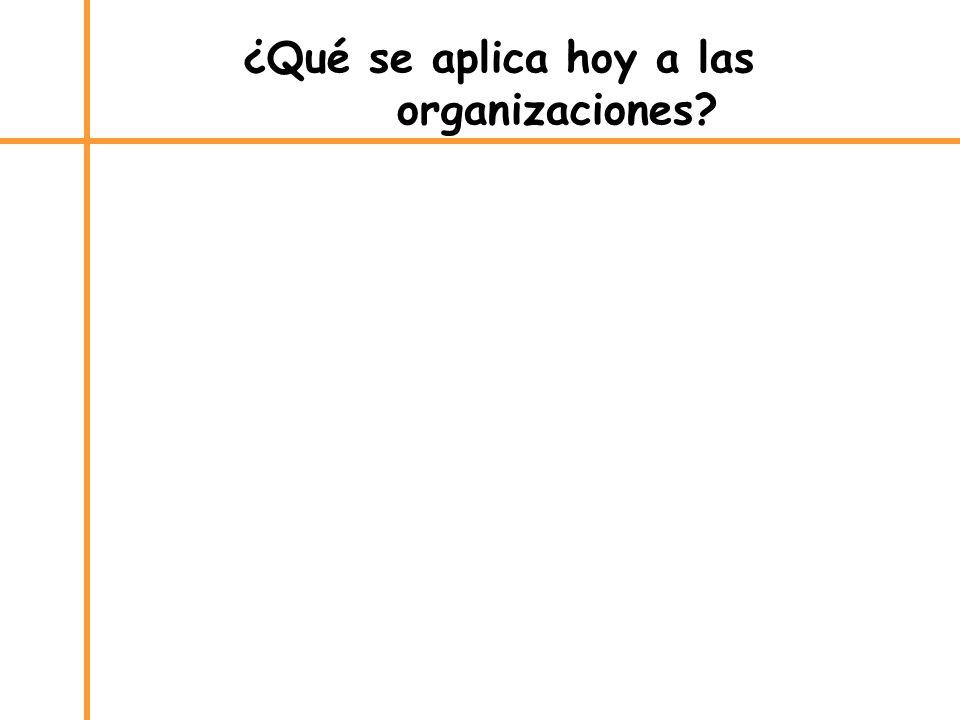 ¿Qué se aplica hoy a las organizaciones?