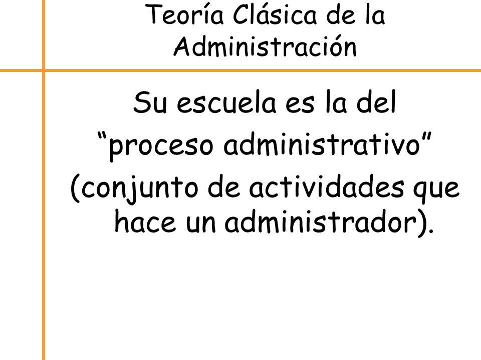 Teoría Clásica de la Administración Su escuela es la del proceso administrativo (conjunto de actividades que hace un administrador).