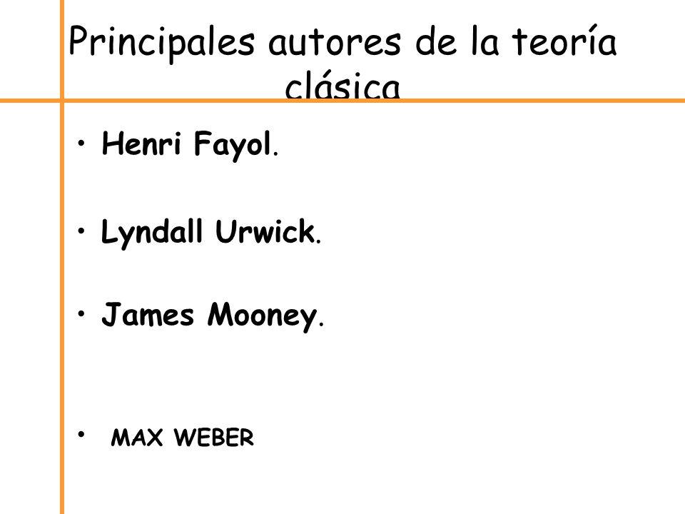 Principales autores de la teoría clásica Henri Fayol. Lyndall Urwick. James Mooney. MAX WEBER