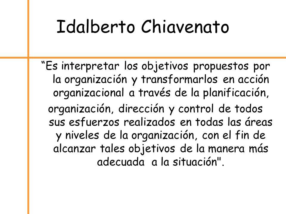 Idalberto Chiavenato Es interpretar los objetivos propuestos por la organización y transformarlos en acción organizacional a través de la planificació
