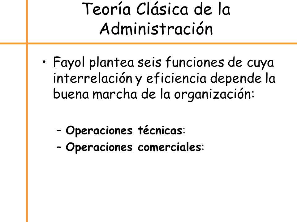 Teoría Clásica de la Administración Fayol plantea seis funciones de cuya interrelación y eficiencia depende la buena marcha de la organización: –Opera