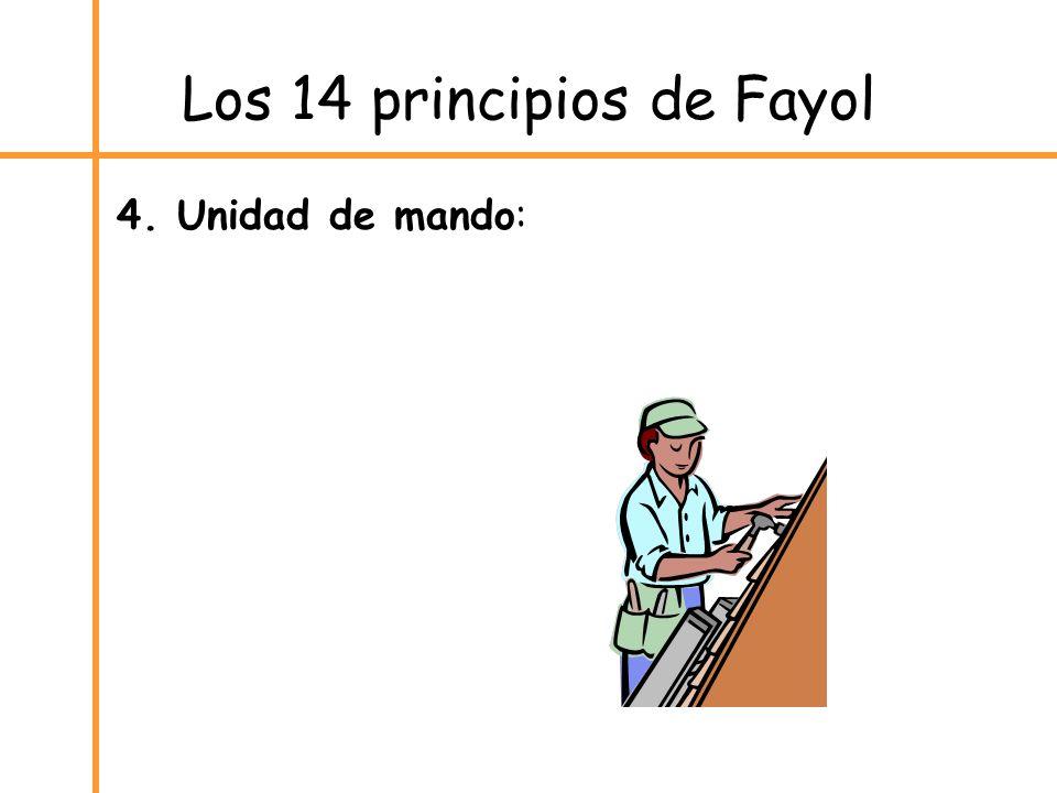 Los 14 principios de Fayol 4. Unidad de mando: