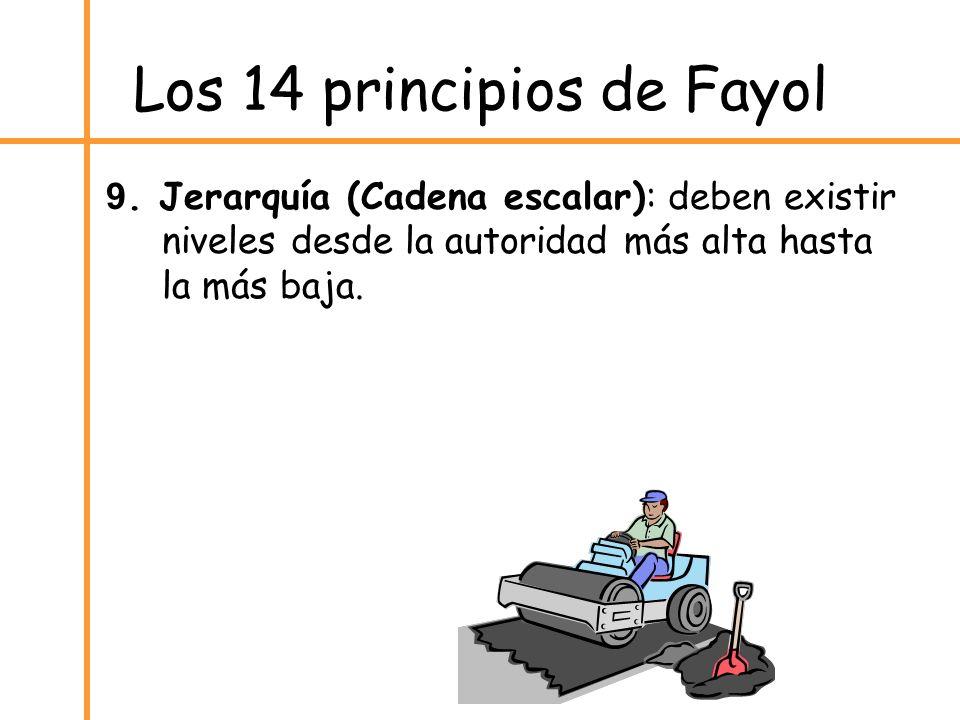 Los 14 principios de Fayol 9. Jerarquía (Cadena escalar): deben existir niveles desde la autoridad más alta hasta la más baja.