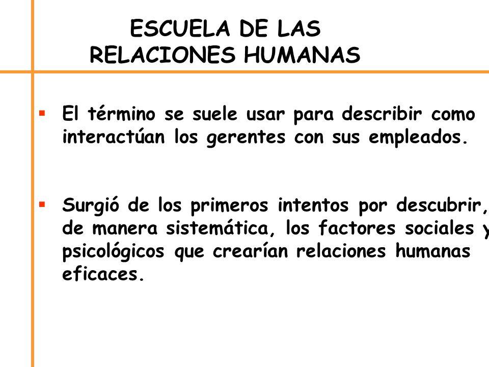 ESCUELA DE LAS RELACIONES HUMANAS El término se suele usar para describir como interactúan los gerentes con sus empleados. Surgió de los primeros inte