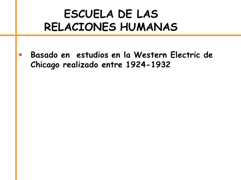 ESCUELA DE LAS RELACIONES HUMANAS Basado en estudios en la Western Electric de Chicago realizado entre 1924-1932