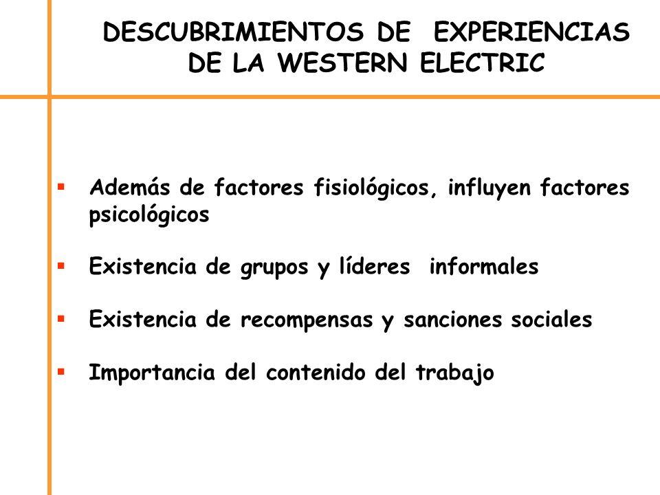 DESCUBRIMIENTOS DE EXPERIENCIAS DE LA WESTERN ELECTRIC Además de factores fisiológicos, influyen factores psicológicos Existencia de grupos y líderes