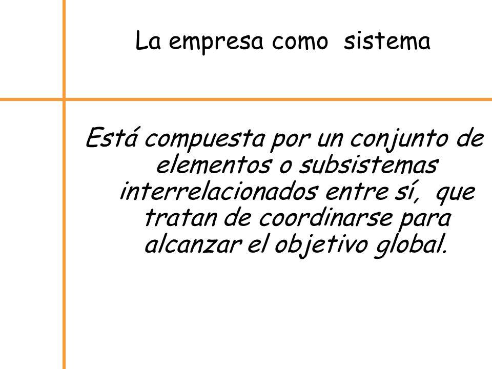 La empresa como sistema Está compuesta por un conjunto de elementos o subsistemas interrelacionados entre sí, que tratan de coordinarse para alcanzar