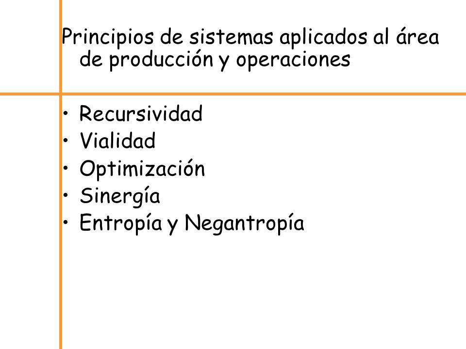Principios de sistemas aplicados al área de producción y operaciones Recursividad Vialidad Optimización Sinergía Entropía y Negantropía