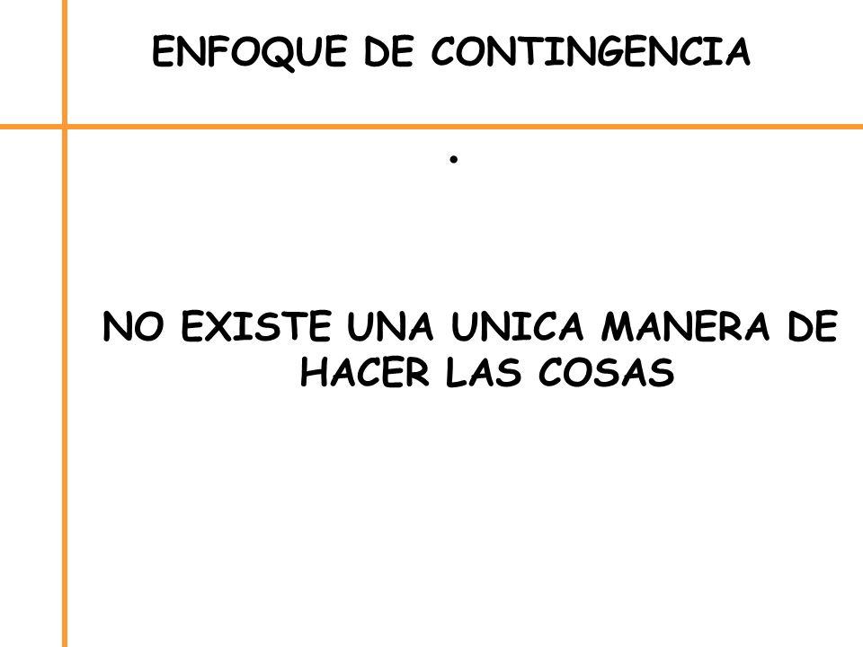 ENFOQUE DE CONTINGENCIA NO EXISTE UNA UNICA MANERA DE HACER LAS COSAS